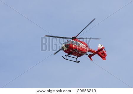 CONSTANTA ROMANIA - SEPTEMBER 06: SMURD helicoper in a mission flyby on September 6 2014 SMURD is the Government