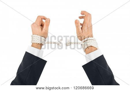 Hands and breaking rope isolated on white background