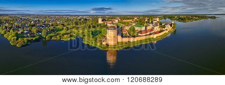 Aerial Panorama of Kirillo-Belozerskiy Monastery in Northern Russia