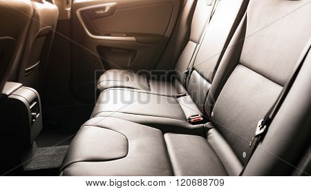 Car interior black leather