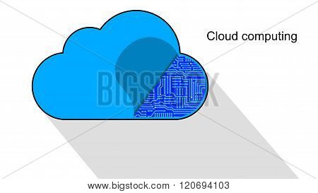 Cloud Computing Icon Opened Revealing A Circuit Board