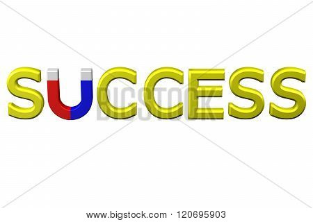 Concept: Word Success With U Shaped Magnet Instead Letter U