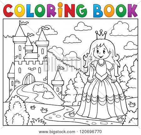 Coloring book princess near castle - eps10 vector illustration.
