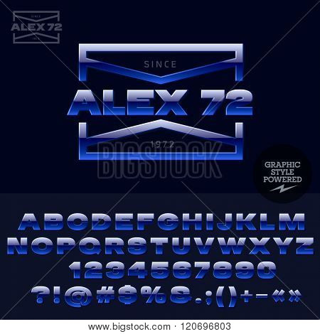 Blue glossy logotype for elite rockers club. Vector set of letters, numbers and symbols.