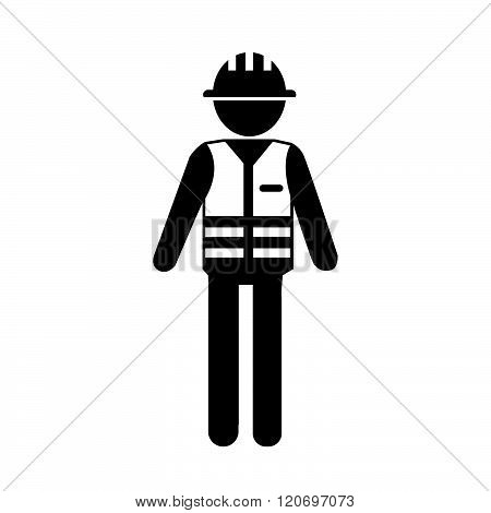 an iamages of Construction Worker People Icon Illustration design