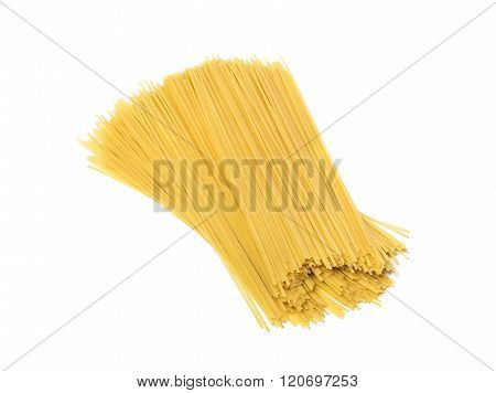 Spaghetti on a white background.