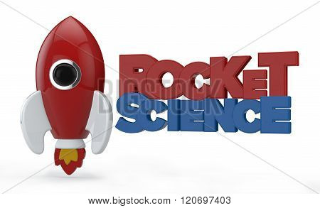 3D Render Of A Symbolic Rocket Colored In Red With Flames