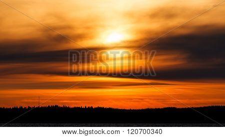 Fiery sunset background