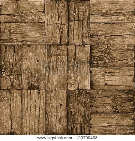 Old Parquet Floor Background - Vector Realistic Grunge Element For Design
