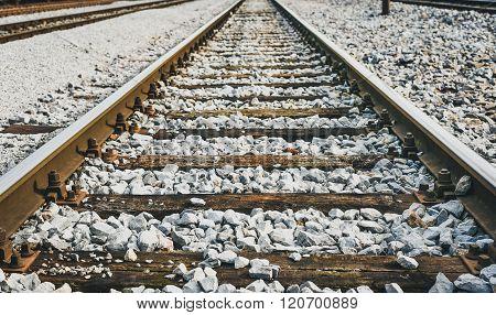Railroad Station And Railroad Tracks