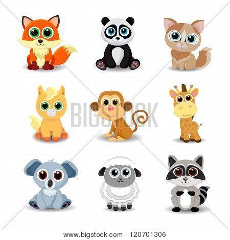 Collection of cute animals including fox, panda, cat, pony, monkey, giraffe, koala, sheep, raccoon.