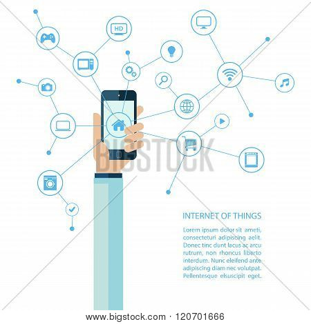 Internet of things concept with human hand holding smartphone.
