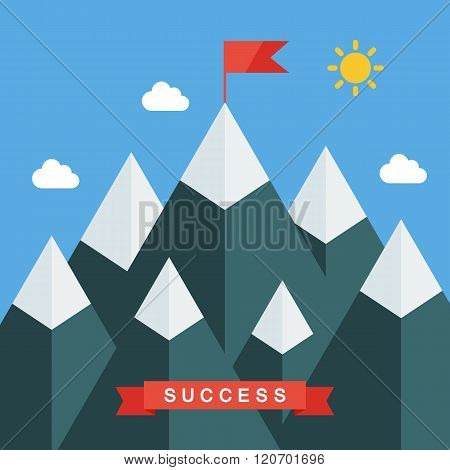 Mountain peak with flag in a flat style. Concept for illustration goals achievement, success.