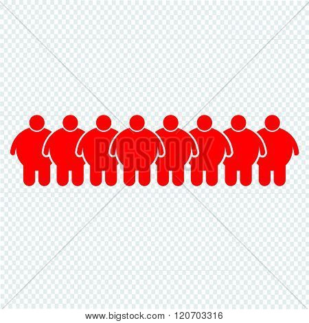 an images of Fat People Icon Illustration design, red