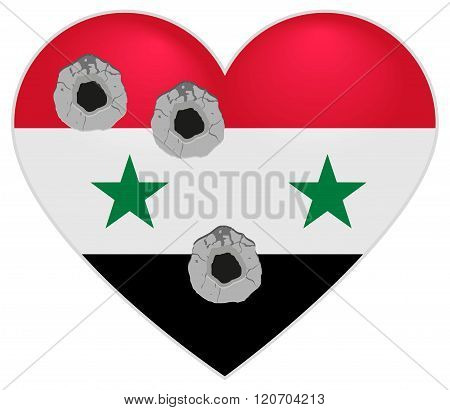 Flag of Syria. Syria Heart pierced by bullets. Bullet holes in heart of Syria