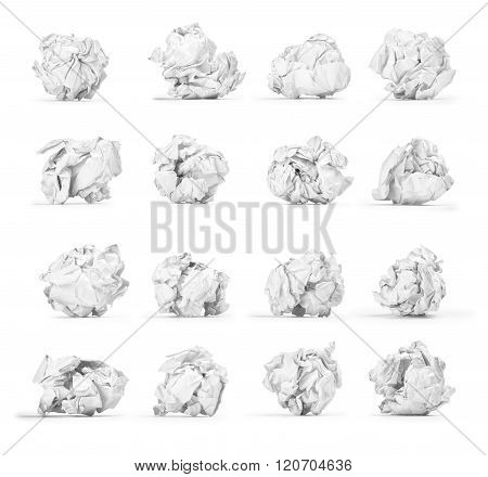 A Large Set Of Crumpled Paper Ball Isolated On White Background