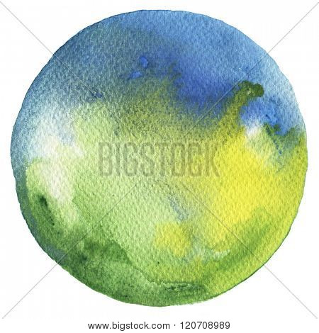 Watercolor circle palette. Watercolor blue and Green stain isolated on white background.