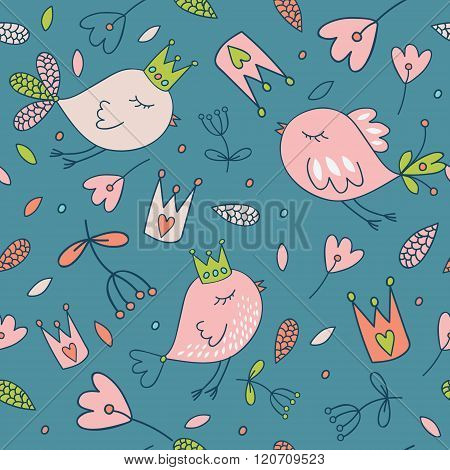 Seamless vector floral pattern. Spring illustration of cute bird