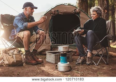 Senior Couple Camping In Nature