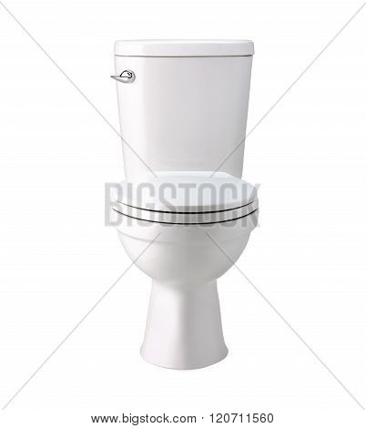 White toilet bowl in bathroom, isolated with clip path