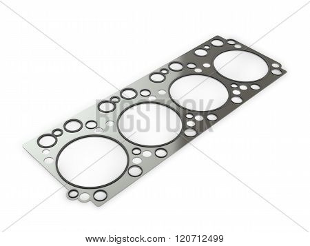 Gasket Car Engine Cylinder Head, On A White Background.