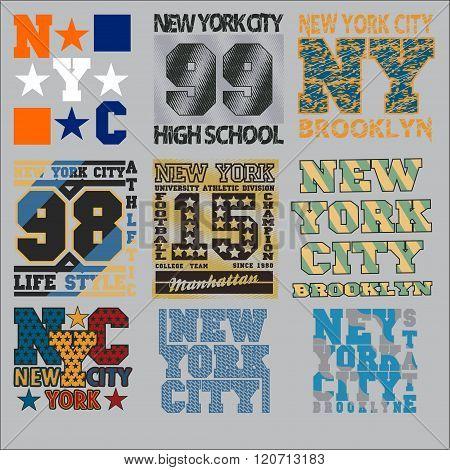Set  T-shirt,  New York Typography, Design Graphic