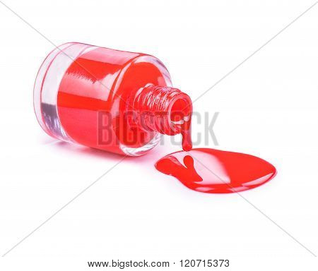 Red Nail Polish On A White Background