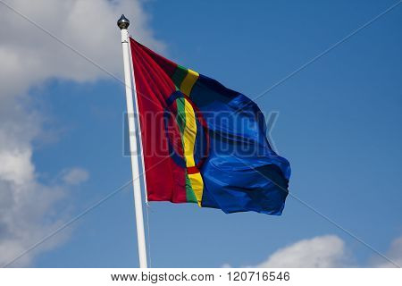 the flag of the sami people in northern scandinavia and russia