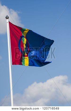 the flag of the sami people of northern scandinavia and russia