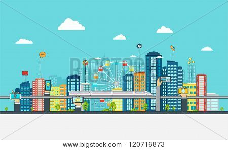 Smart City With Business Signs.