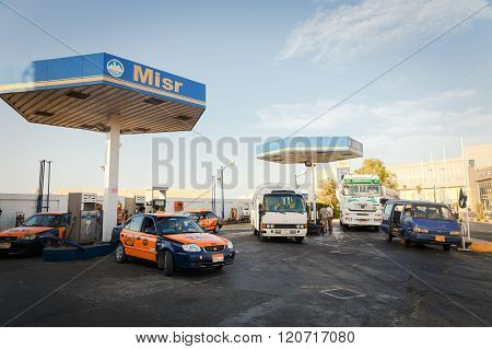 Cars On Gas Station