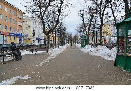 Tver, Russia - February 27. 2016.  monument songwriter Michael Krug on Boulevard Radischev