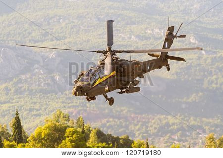 Apache helicopter of the Hellenic air force team.