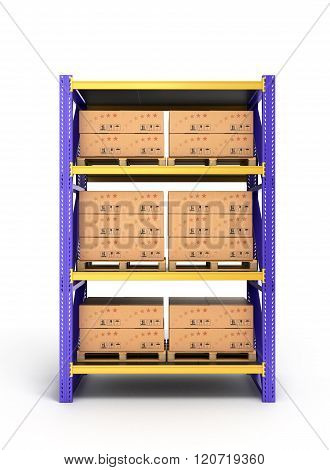 Rack With Boxes On Pallets Isolated On White