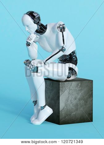 Robot Man In Thinking Pose.