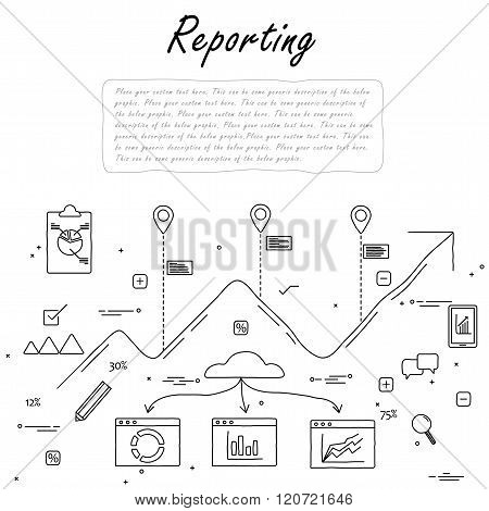 Hand Drawn Line Vector Doodle Of Concept Of Reporting And Statistics.