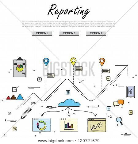 Hand Drawn Line Vector Doodle Of Concept Of Reporting And Statistics. Also Represents Business Repor