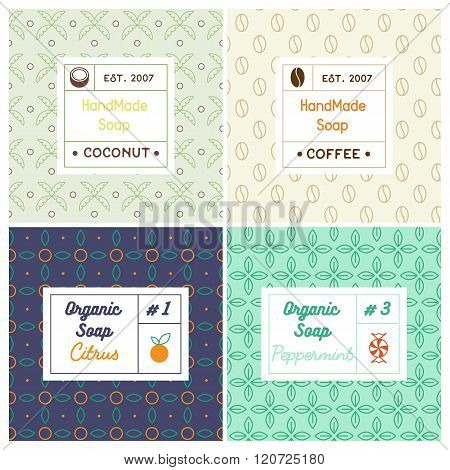 Vector set of seamless patterns for handmade soap.