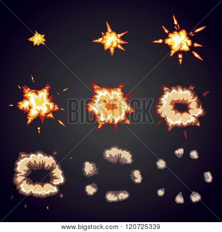 Explode effect animation. Cartoon bang explosion frames
