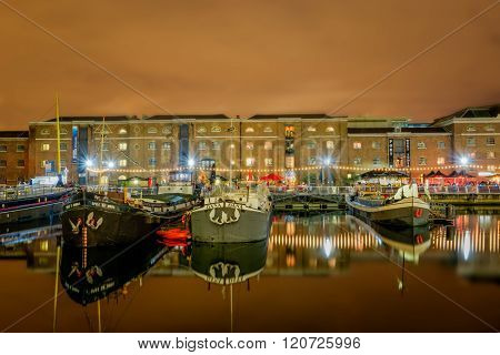 Boats In West India Quay In London Docklands