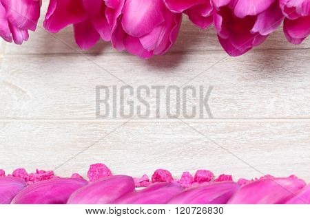 Greeting Card With Flower Petals And Decorative Stones