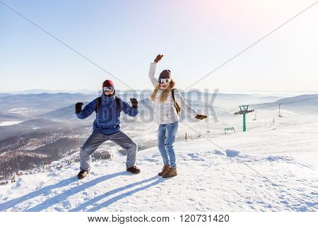 Dance on the top of a ski slope