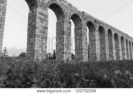 Remains of an ancient Roman aqueduct
