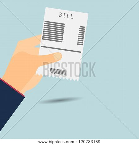 Paying Bills. Hand Holds Invoice. Vector Illustration.