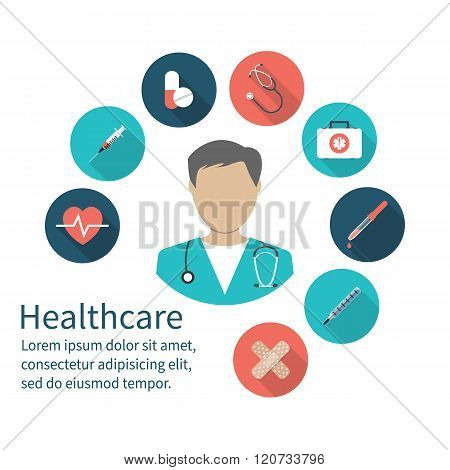 Icon Doctor. Medical Concept. Emergency Doctor With Medical Equipment.