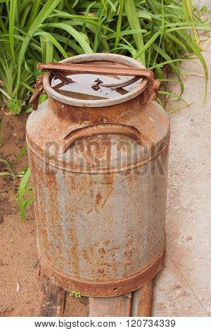 An Old Metallic Ferruginous Flask