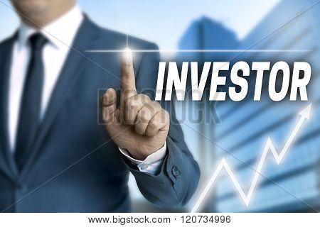 Investor Touchscreen Is Operated By Businessman