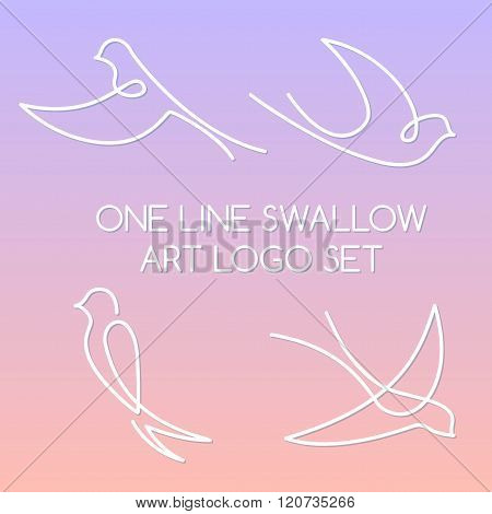 One Line Swallow Art Logo Set On A Background Of Blended Colors Of 2016 Rose Quartz And Serenity