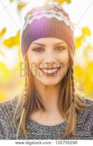 Gorgeous Young Woman In Spring Smiling