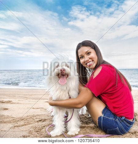 Young Woman Walking With Dog